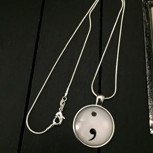 "Jewelry - 20"" Silver Plated Necklace with Semicolon Pendant"
